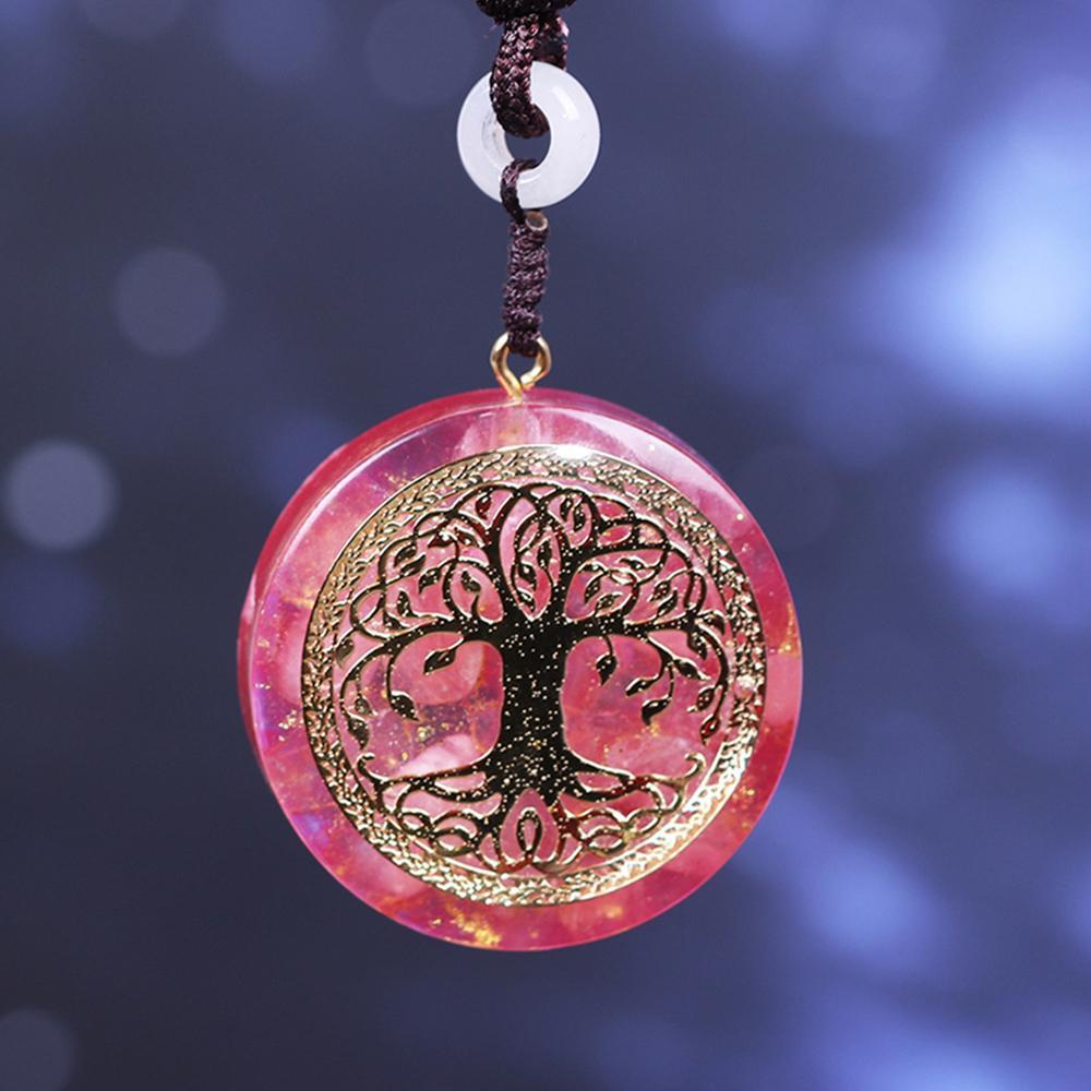 Orgone Anhänger Baum des Lebens Energie Orgonit Halskette Rosa Kristall-heilende Harz-Schmucksachen 200928 Dropshipping