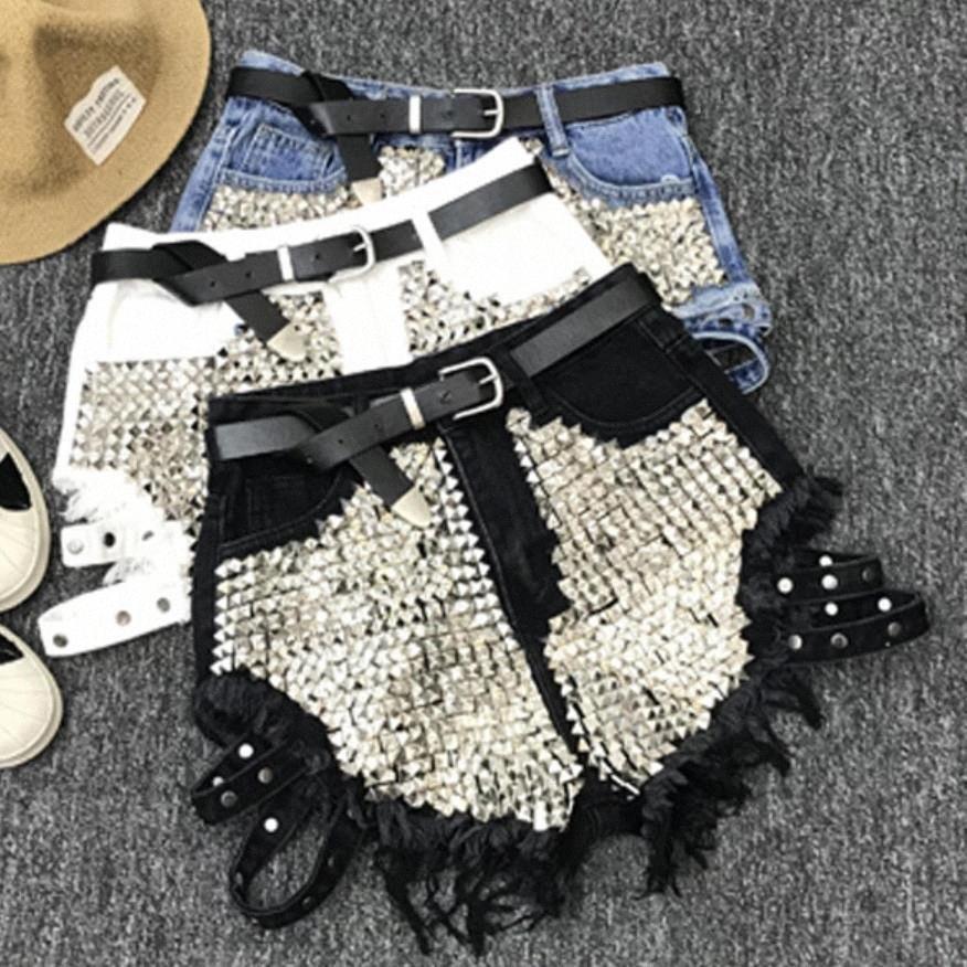 Frühling, Sommer, New Rivet Jeans-Shorts 2019 Frauen mit hohen Taille lose Troddel Jeans Shorts ohne Gurt BU2r #