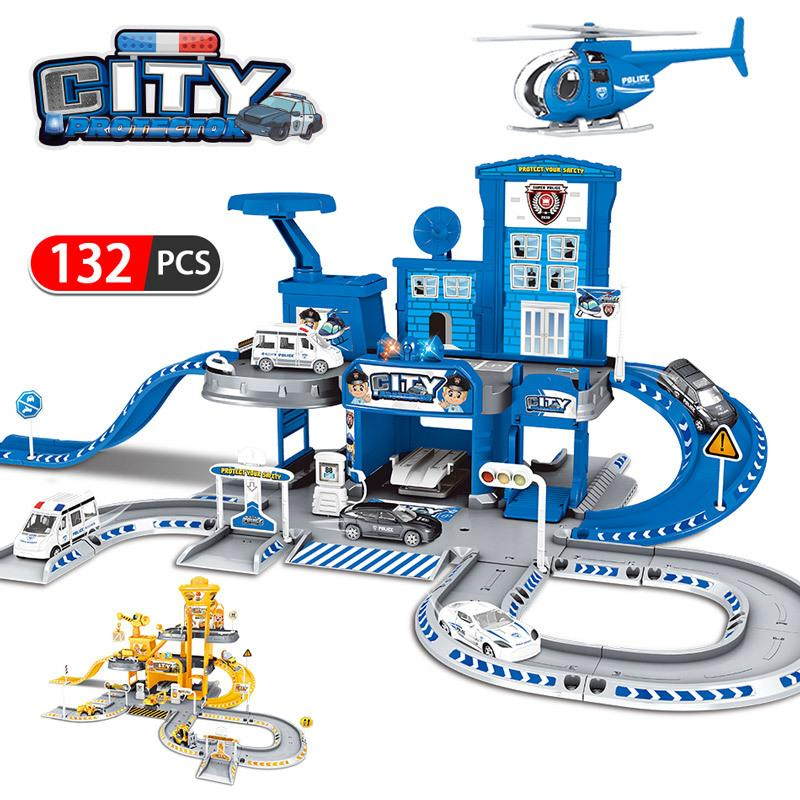 3D City Police Station Railway Alloy Car Play Engineering Fire Truck Track Car DIY Model Building Kits Assembly toys for kids LJ200930