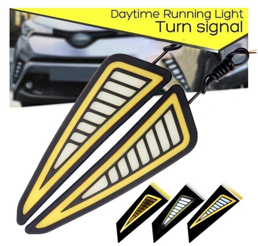 Lymoyo 2pc DRL DRL Esecuzione luce Eagle Eye Cob Pannocchia Led Auto Lampadina Bianco Azzurro Auto Giallo Auto Direzione del segnale di riscaldamento Light Car Styling 12v1