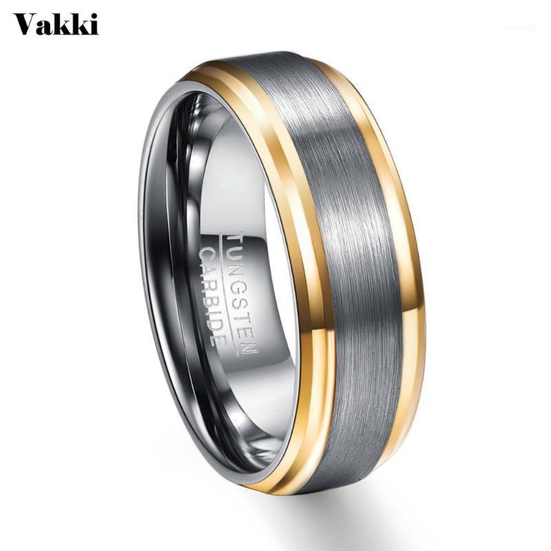 Anéis de casamento Vakki anel de festa ouro borda de cor escovado homens 100% tungsten carboneto de tungstênio multi-tamanho anillos para hombres pierscienie1