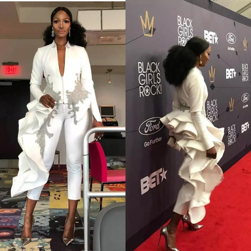 2021 moderna tute Prom Dresses Scollo a V a maniche lunghe arabo appliquéd increspature sera convenzionale degli abiti di raso di lunghezza del tè robe de soiree AL7652