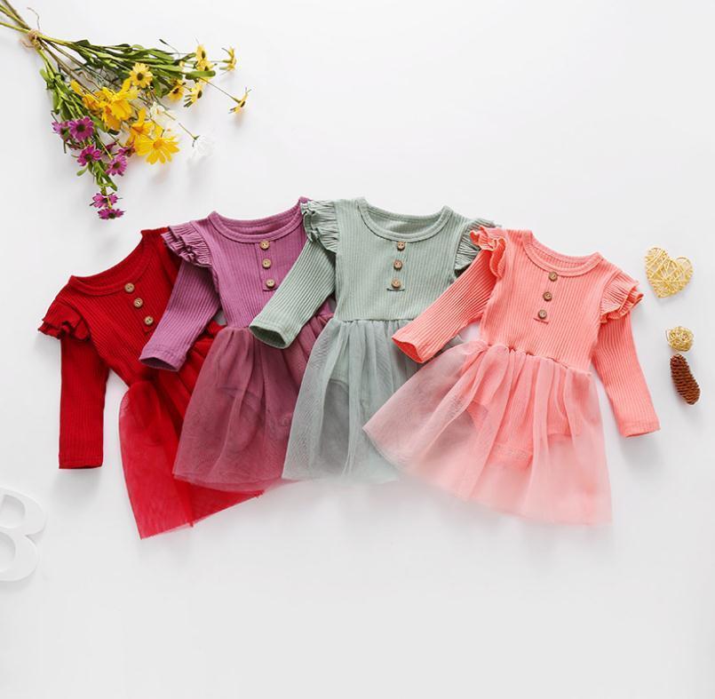 Детская одежда для девочек сплошной пряжи платье ромпер младенческий малыш с длинным рукавом комбинезон 2021 весенний новорожденный ребенок альпинистская яма вязаная одежда DB227