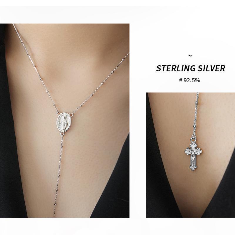 Solido 45 centimetri argento 925 Rosario Perle Vergine Maria Croce Collana Donne 2 millimetri argento perline argento Collana