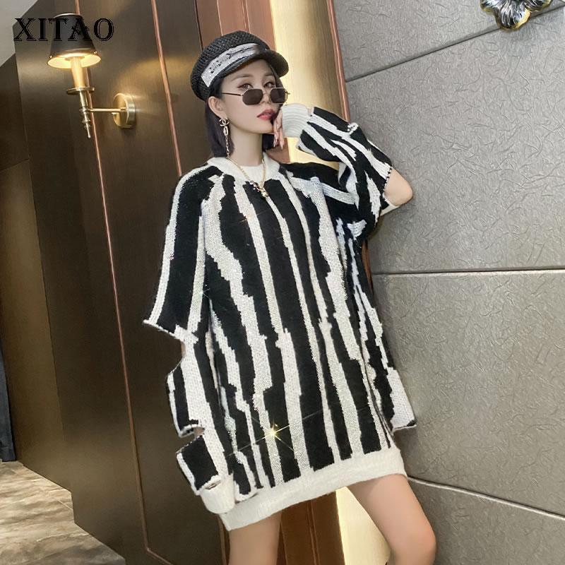 Manga Xitao Mujeres Moda de punto jersey de rayas hueco completa fuera Pullover fresca pequeña de estilo casual 2020 suéter flojo DZL2238
