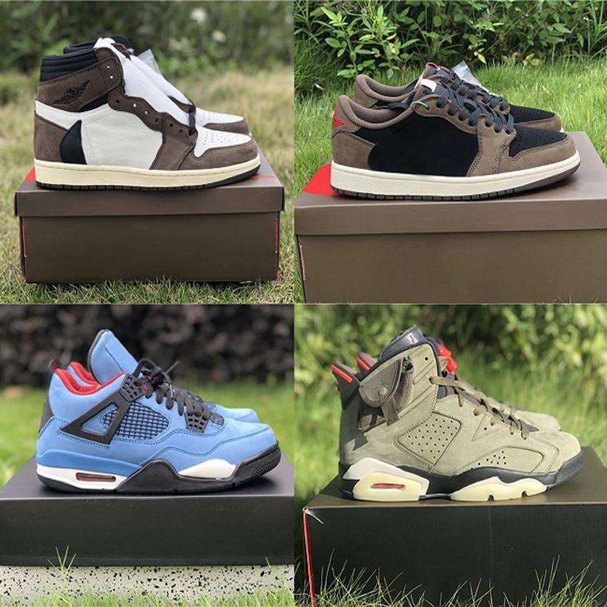 Mais quente autêntico Travis Scott x 6 Cactus Jack Médio Olive 1S Brilho no Exército Escuro Verde Camurça 3M Mens Sapatos Ao Ar Livre Zapatos Sneakers