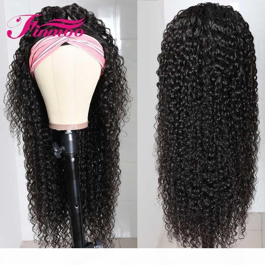 180% Densité écharpe Bandeau perruque frisée perruques de cheveux humains pour les femmes noires du Brésil Remy Bandeau perruque de cheveux humains Débutant Amical