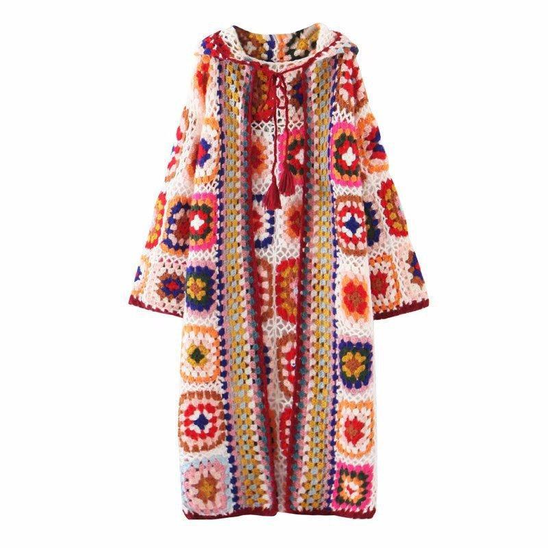 Contraste las mujeres de gran tamaño de moda popular de Bohemia de la vendimia de cadena larga con capucha Cardigan Chaqueta de punto capa del suéter del puente de tracción superior