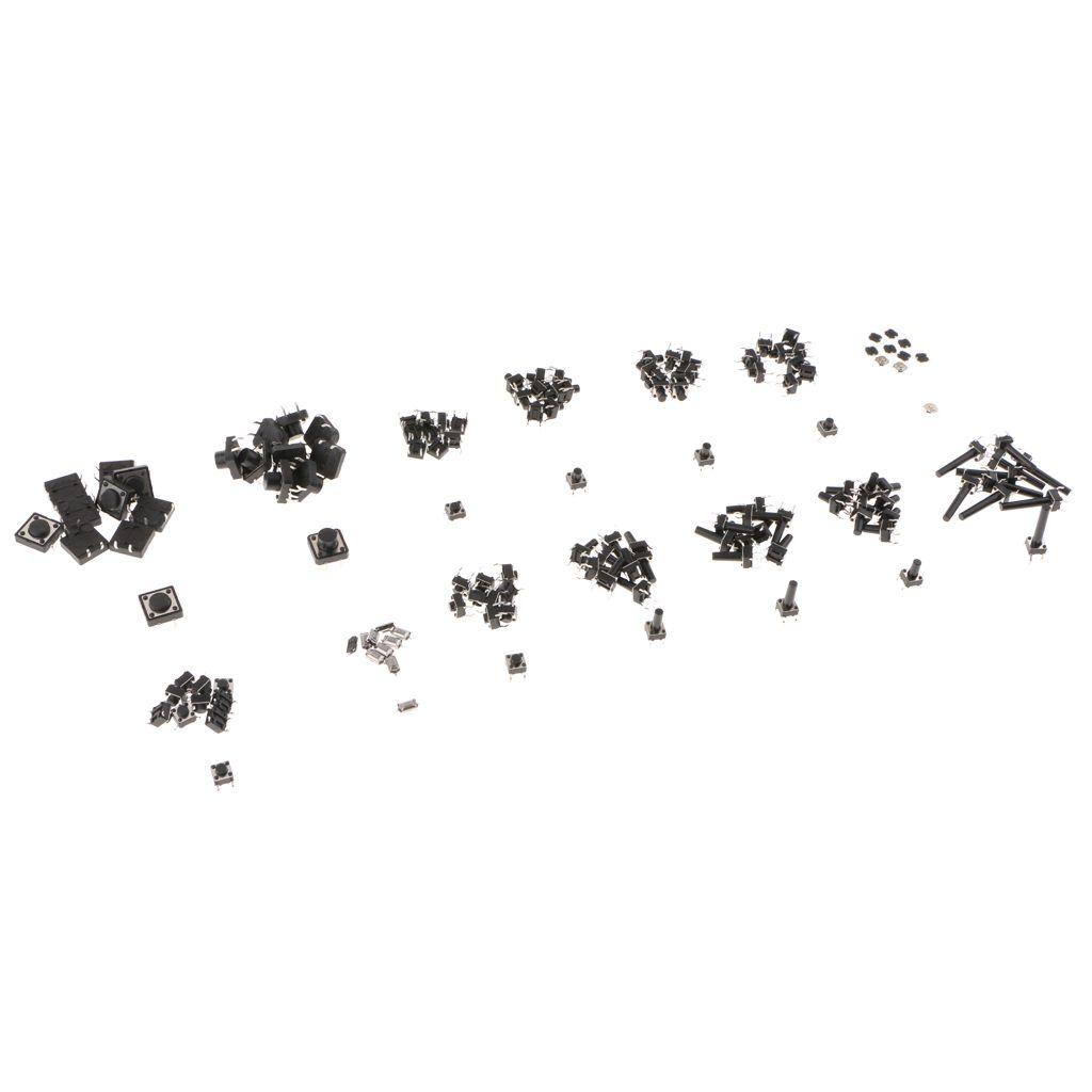 140 Pièces Micro Bouton poussoir Momentary Tact commutateur DIP SMD pour l'électronique
