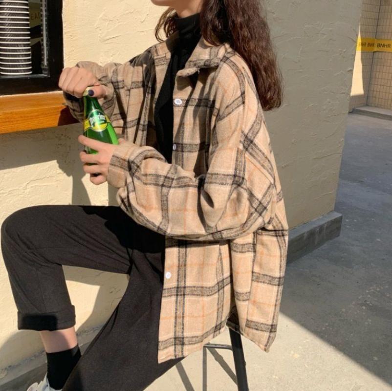 Chemisier Femme Revers Collier Chemise d'automne Plaid All-Match Batwing manchon veste lâche Harajuku Femelle T-shirt chic 4 couleurs