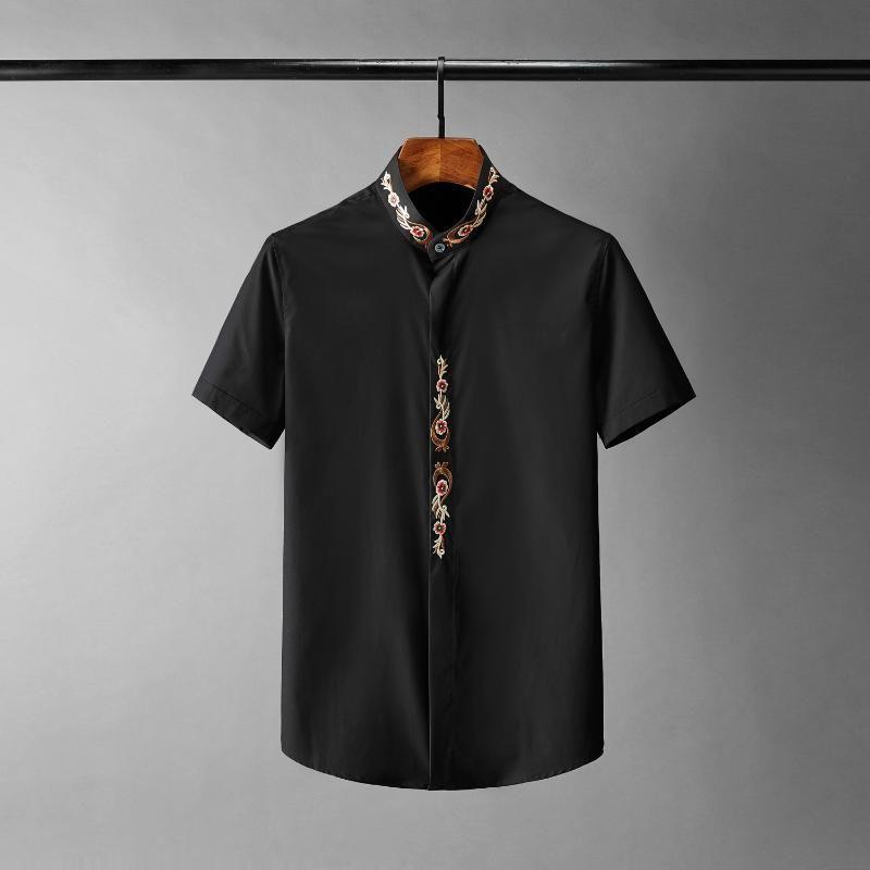 남성 캐주얼 셔츠 Minglu 스탠드 칼라 남성 럭셔리 자수 짧은 소매 여름 남성 플러스 사이즈 4XL 패션 슬림 맞는 남자