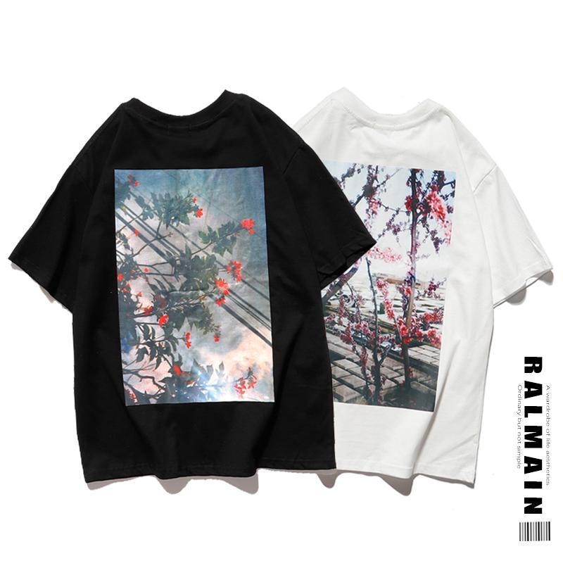 Мужчины спокойной футболки мужской повседневная одежда мальчик молодые тройники студент хип-хоп с коротким рукавом футболка новый цветок печатает высокое качество моды лето