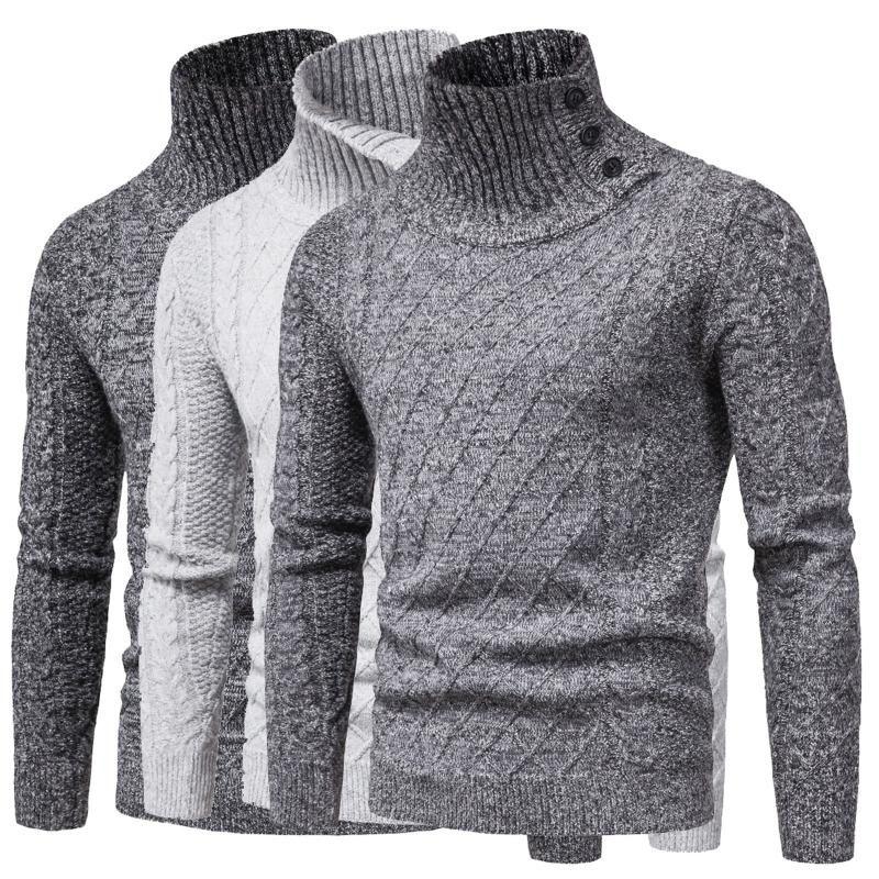 Mens Turtleneck Camisolas Outono Inverno Casual Masculino Sweater manga comprida cor sólida capuz Camisolas Tops malha masculino Sweater