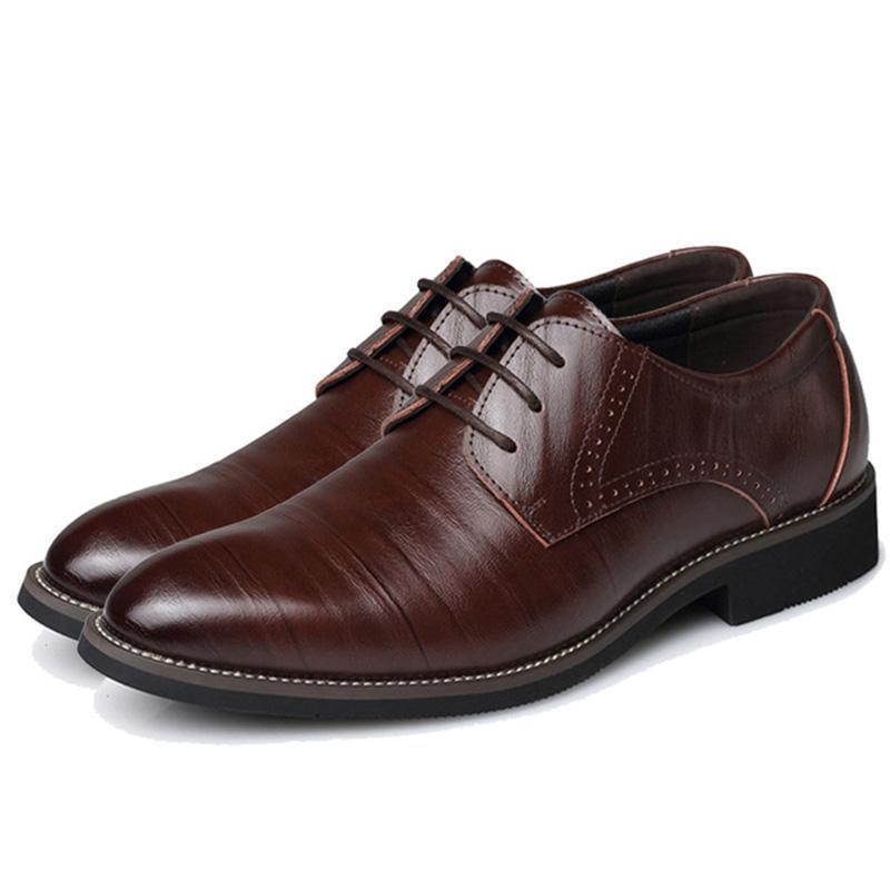 Большой размер 37-48 Oxfords Кожа Мужская обувь Мода Повседневная заостренной верхушкой Формальное бизнес мужчина Свадебное платье Квартиры Dropshiping