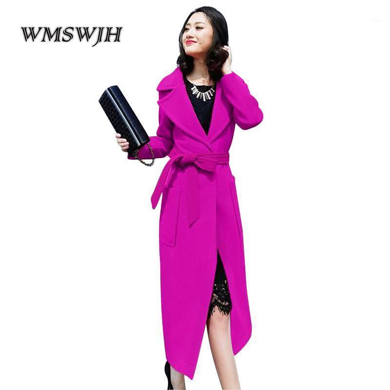 2018 otoño invierno abrigo de lana de moda ultra largo abrigo de cachemira solapa manga larga delgada Outwear Solid Color hembra abrigo JM2651