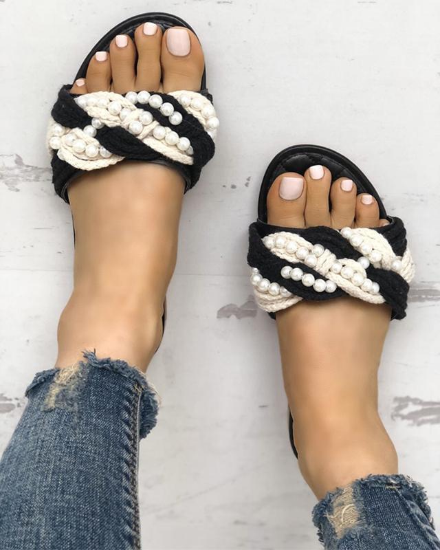 Moda verano suave pisos sandalias rayas cuerda de cadena antideslizante flip chanclas hermoso verano zapatillas al aire libre mujeres señoras sandalias1