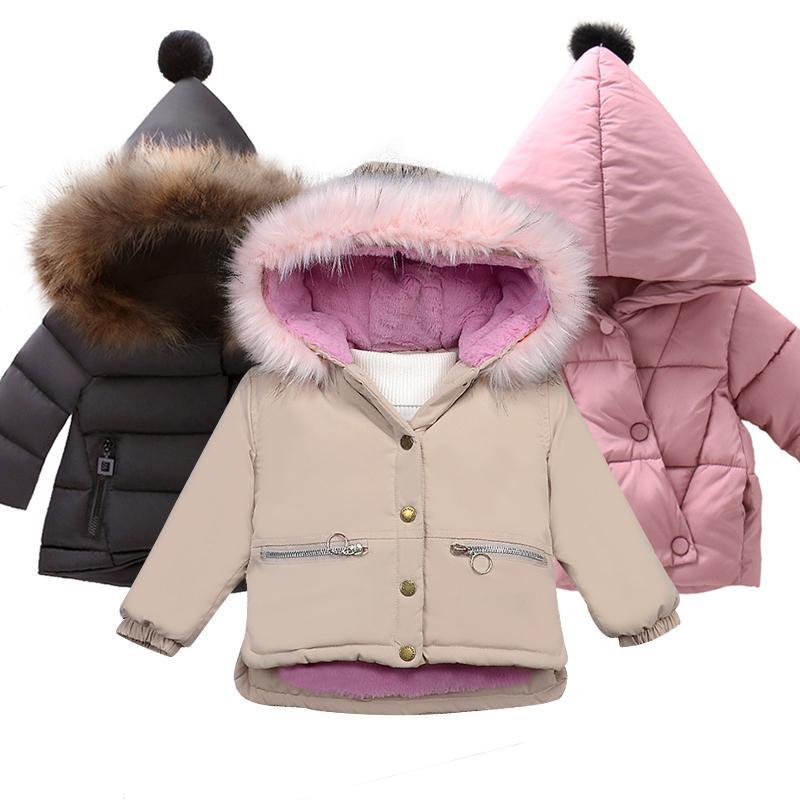 Девушки плюшевые куртки хлопок плюшевые пальто осенью и зимой новый ребенок с длинным рукавом утолщенная хлопковая куртка с капюшоном пальто 201127