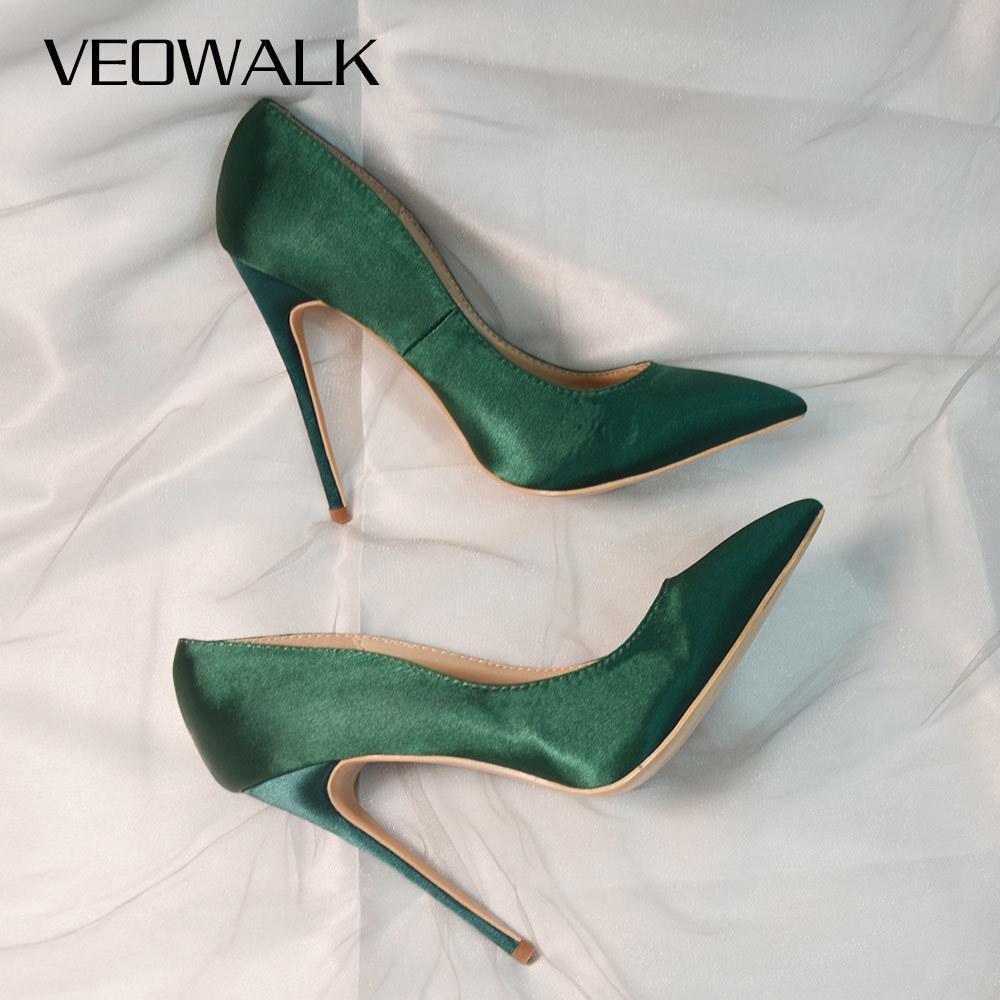 Veowalk бренд шелковые верхние женщины сексуальные высокие каблуки Элегантная леди заостренные носки насосы для вечеринки насосы женщины комфортные платье обувь на заказ Принять LJ200928