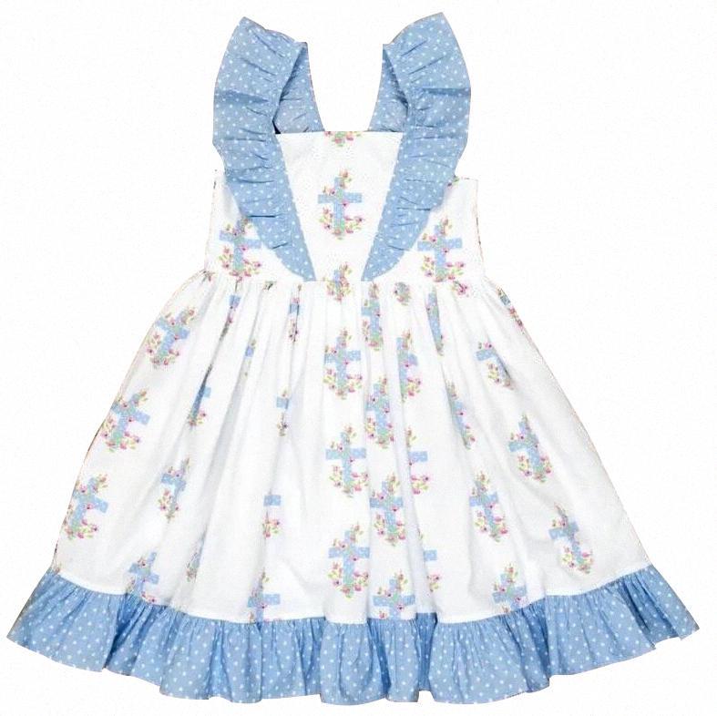 Venta Boutique calientes de la ropa de los niños Pascua Cruz de niños vestido rizado kRpj #