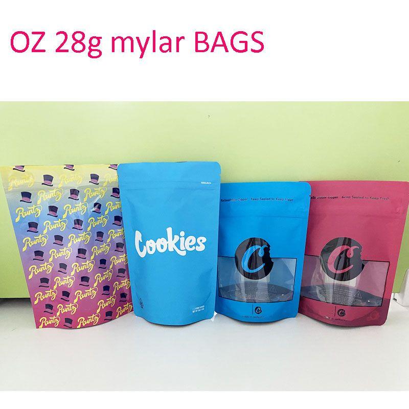Runtz الأزرق coolkies oz mylar حقيبة رائحة برهان أوقية أكياس قابلة للتخصيص ziplock التعبئة والتغليف 3.5 جرام 7 جرام 14 جرام 28 جرام رائحة برهان مخصص