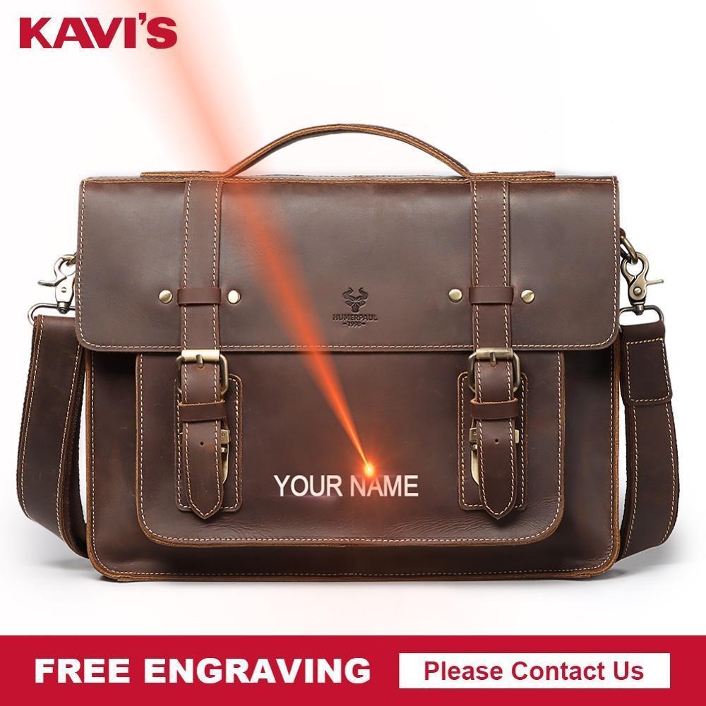 HBPKAVIS Free Engraving Quality Men Bag Genuine Cow Leather Messenger Bags Luxury Male Business Handbag Men's Laptop Travel Hot Q0112