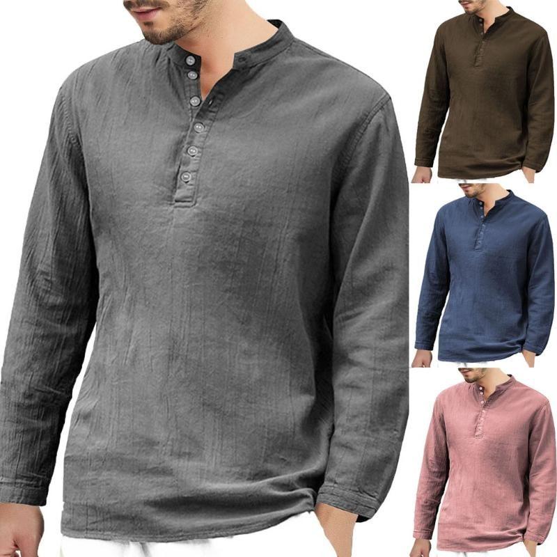 2020 новый стиль горячей продажи Мужские Кнопка Багги Хлопок Лен Длинные рукава ретро V шеи футболки Топы Блузка высокое качество