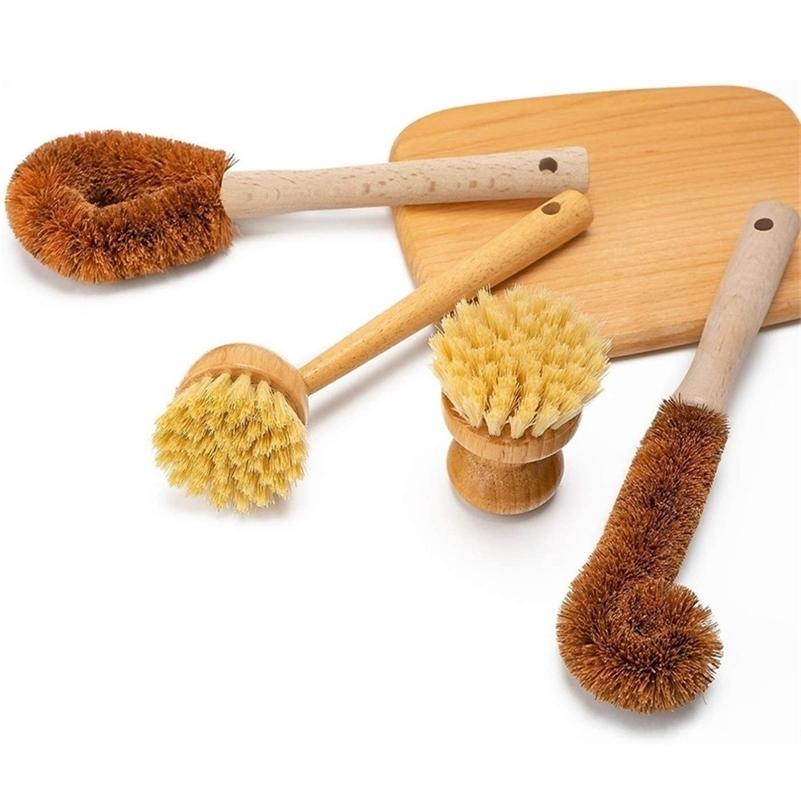 Plateau en bois naturel brosse brosse naturelle nettoyage brosse plongée pour bouteille de légumes cuisine cuisine bol vaisselle nettoyage 201214