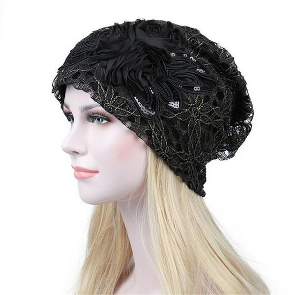 Le donne signore eleganti pizzo floreale in pizzo baggy testa cappuccio berretto tubo di cancro cappello testa