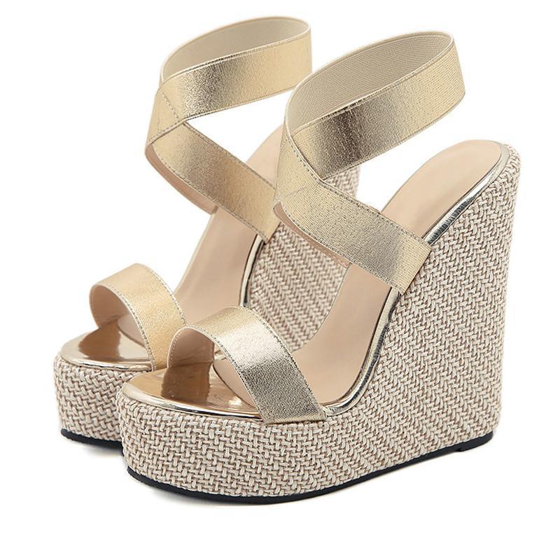 Sandali Donna Dress Shoes Fashion PU Pelle Open Toe Slip-on Wedges Tacco alto Sandoles Femmes Piattaforma Slides Slifts 42