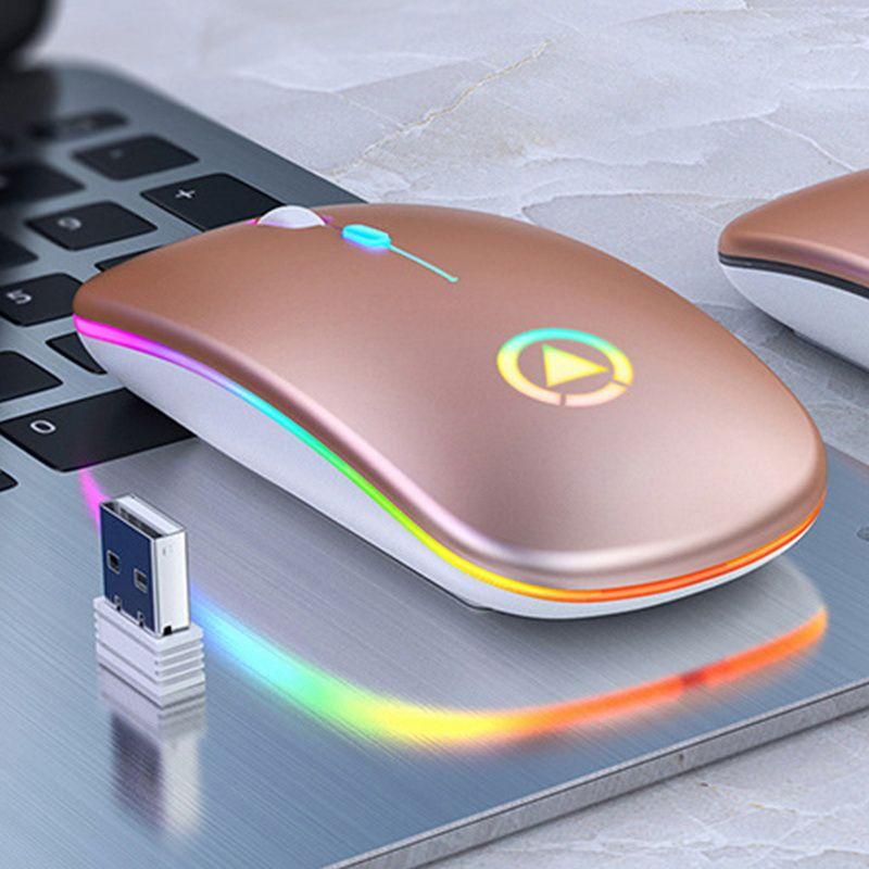 رقيقة جدا LED ملون أضواء قابلة للشحن ميني ماوس لاسلكية USB بصري كتم مريح الألعاب ماوس ماوس الكمبيوتر المحمول الحاسوب