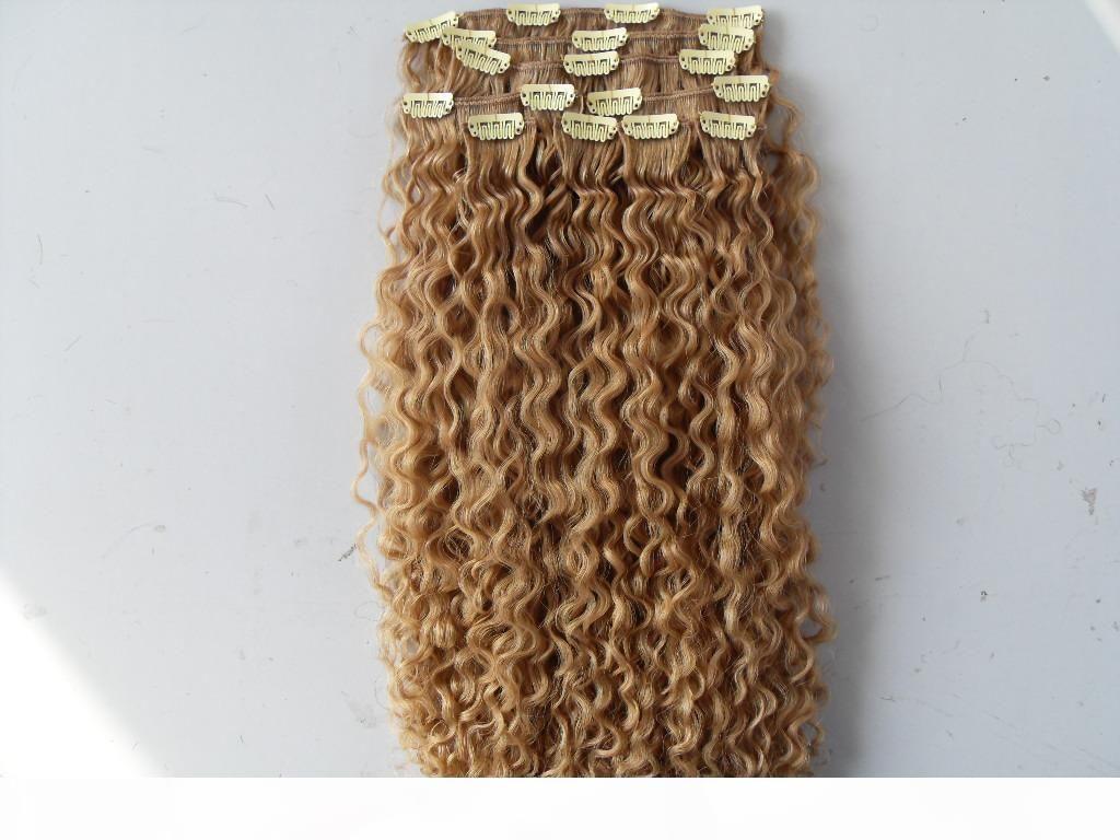 Clip de trame de cheveux bouclés mongols dans Naturel Curl Kinky Curl Teins non traités Virgin Remy Blonde Extensions humaines
