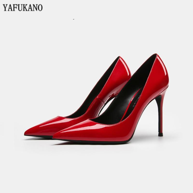Sexy Red Patent Leather Bridesmaid Wedding Shoe 2020 Nude High Heels Pointed Toe Stiletto Heels Elegant Ladies Party Dress Pumps1