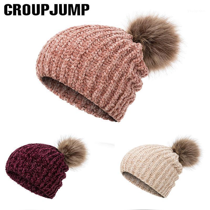 Cabulie / черепные шапки 2021 чешуйков для женщин Chenilles Pom вязаные женские шляпы зима мягкая кепка толстая женская Cap1