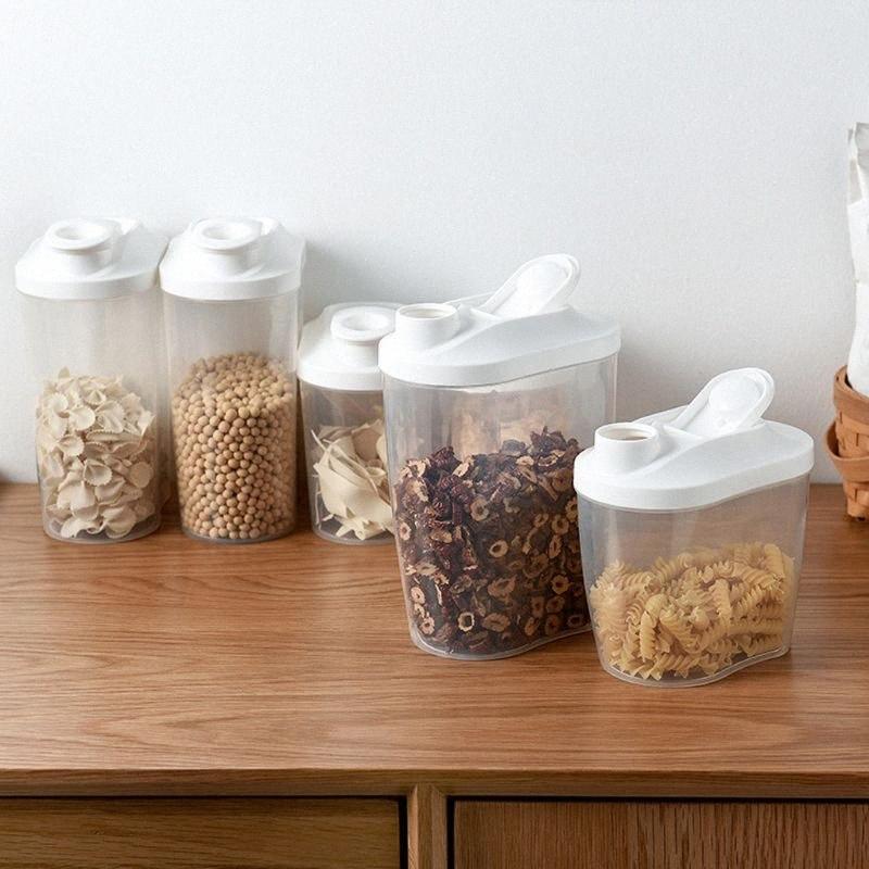 1000 / 1500ml Контейнер для хранения Пластиковые Кухня зерна Multigrain молока Диспенсер Прозрачный бак Герметичный u2nk #