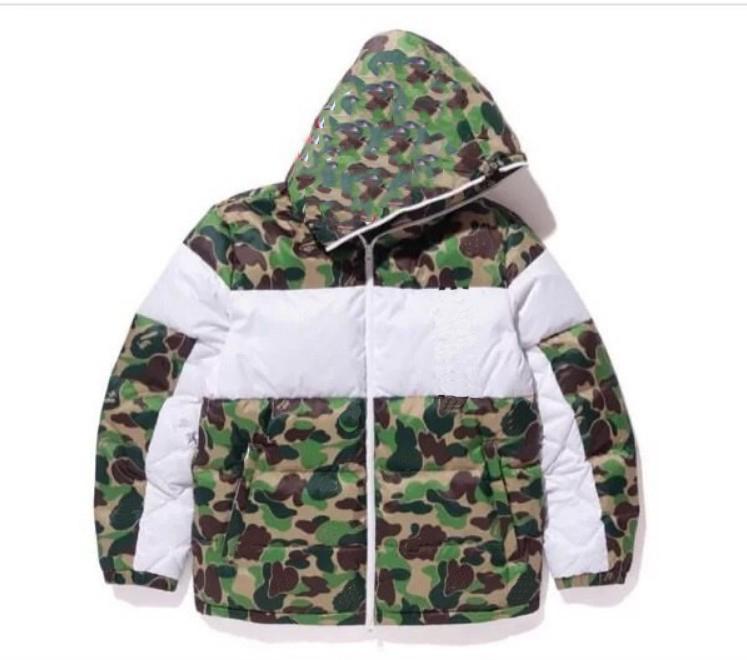 Мужские пальто хлопка 20FW Мужчины Зимняя куртка Мода Камуфляж печати 3 Stripe Trend письмо Лист для печати Мужская теплая куртка размер S-2XL