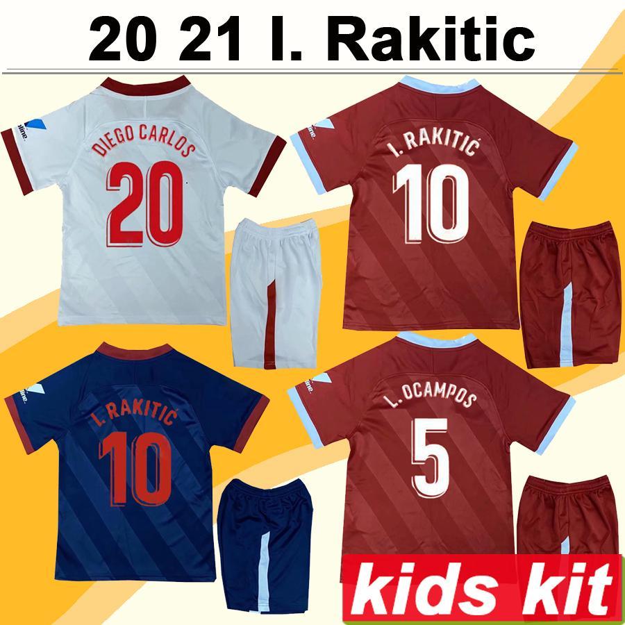 20 21 L. OCAMPOS I. RAKITIC Kids Kit Soccer Jerseys J. Navas DIEGO CARLOS VAZQUEZ Home Away 3rd Child Football Shirt Camisetas de futbol