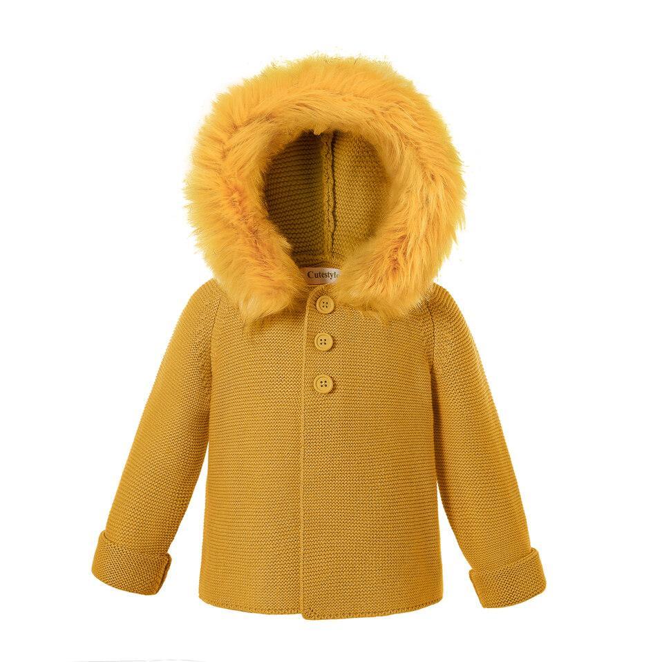 Pettigirl Children Sweater Winter Yellow Detachable Faux Fur Hoodied Cotton Yarn Kids Coat Sweater For Baby Boys Girls U-DMOC307-435Y