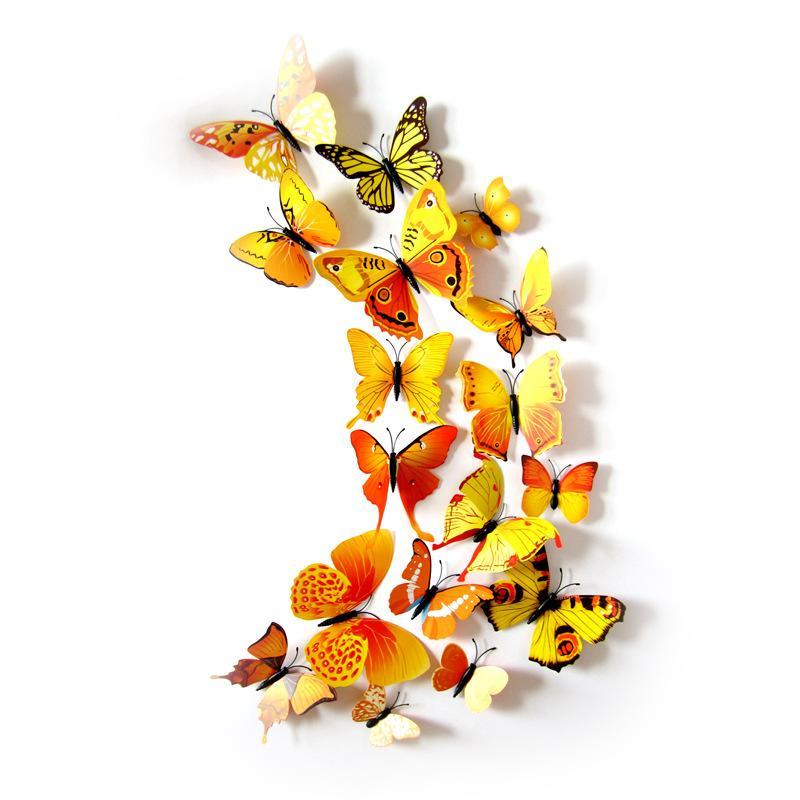 Simulation 3D Papillon Magnets de réfrigérateur Home Animal PVC Chambres d'enfants Stickers muraux Broche de mariage Accessoires de cheveux Ornement Chaude Vente 1 6DJ M2