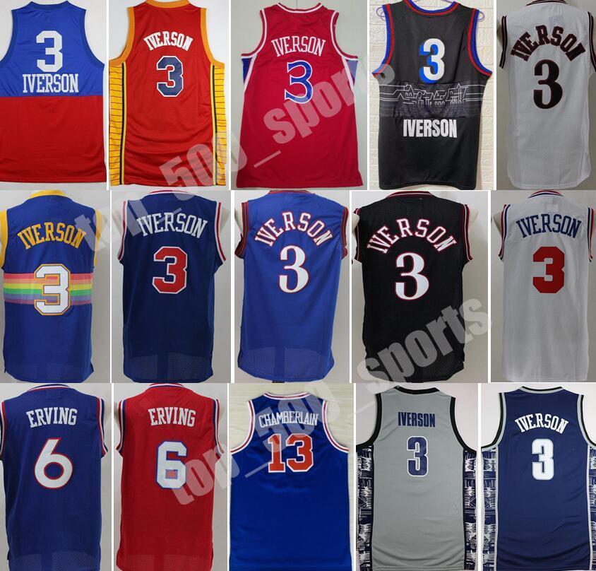 조지 타운 Hoyas College Allen Iverson Jerseys 3 남자 농구 Dr J 줄리어스 6 Wilt Chamberlain 13 블루 블랙 화이트 레드 좋은 품질