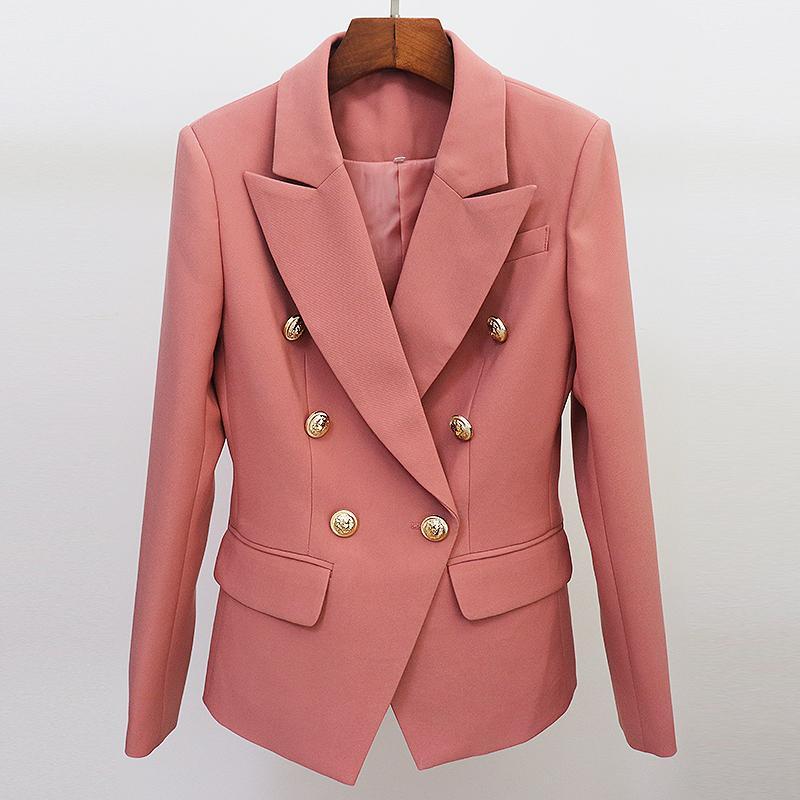 CALLE PRINCIPAL más nuevo diseñador de pista chaqueta de las mujeres clásicas León Botón doble de pecho apropiada delgada chaqueta de la chaqueta 201012