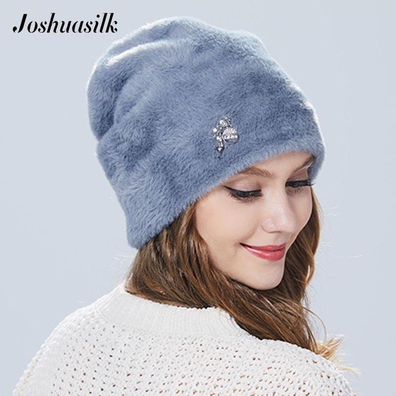 Joshuasilk зимняя женщина шляпа из искусственного меха и ангорских кроликов мягкий и нежный кулон украшения моды для девочек Y200103