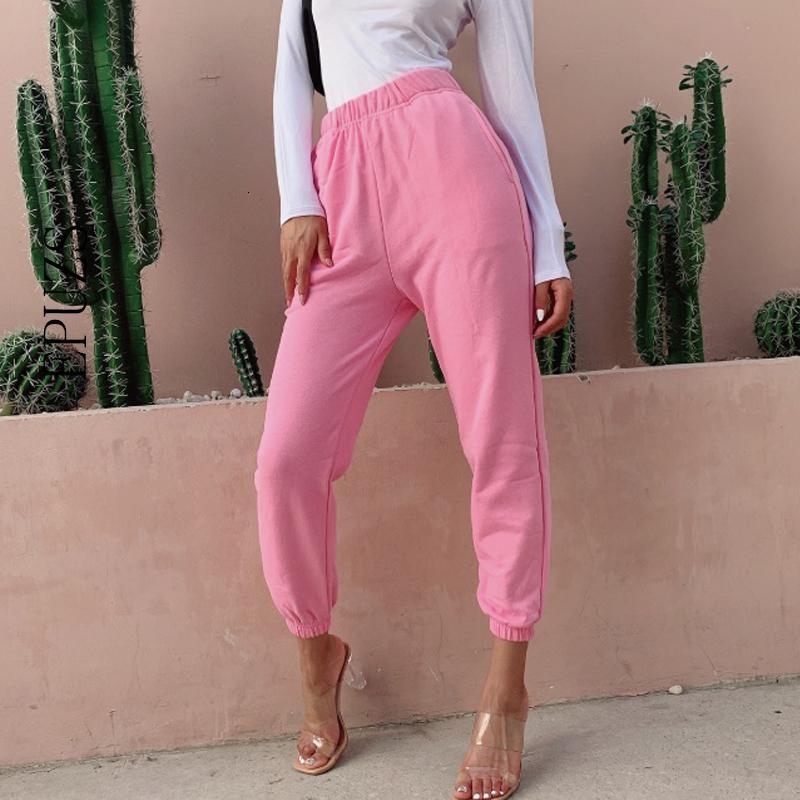 Casua de cargaison de jogging rose verte; Haut Élastique Wasit Sexy Loose Broek Joggers Femmes Pantalons Capri