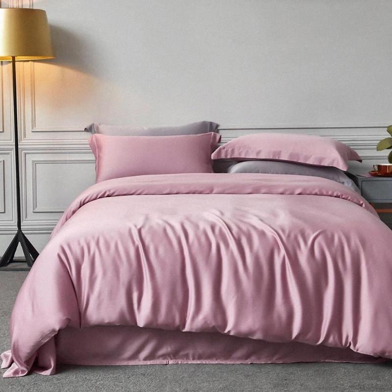 Katı Renk İpek Yorgan Yatak Örtüsü Yatak Örtüsü İpek Üç Adet Suit İki yastık kılıflarını Yıkanmış + Yüksek Kalite Yatak Funky yatakları uktu # Yatak