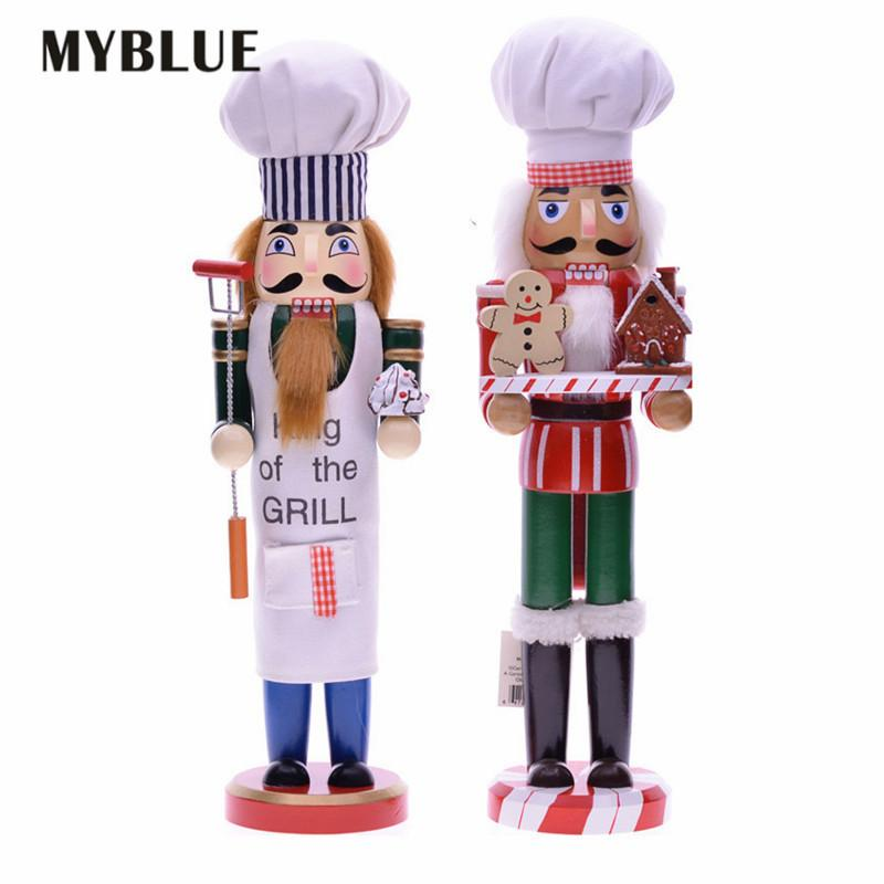 MYBLUE 35cm Europe Vintage Chef Statue Nutcracker Sculpture Figurine Christmas Doll Ornaments Home Room Decoration Accessories 201127