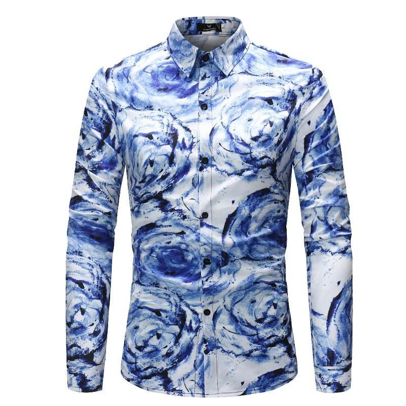 Männer Lässige Hemden 2021 Frühling Herbst Design Blume 3D bedruckt Langarmabendrehkragen Slim Fit Herren Hawaiian Hemd Top