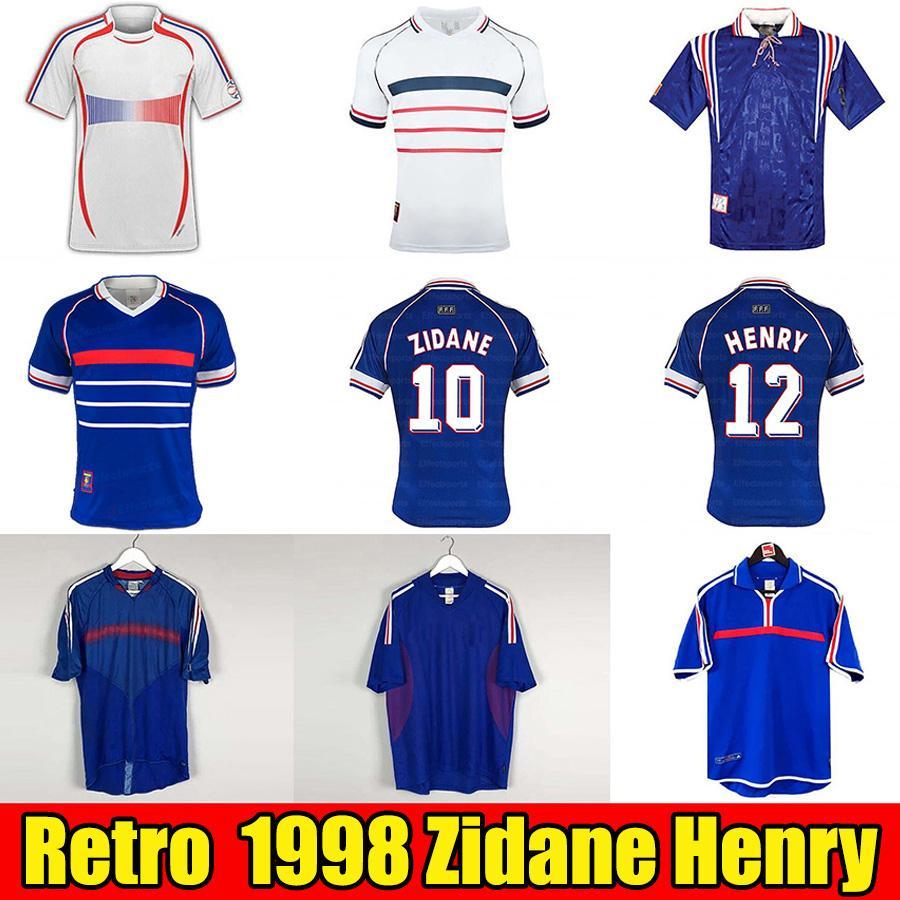 Retro 1998 Francia Maglie da calcio ZIDANE HENRY Abidal Ribery Soccer Jerseys MAILLOT DE FOOT 98 divise Maglie da calcio 1996 2000 2002 2004 2006 Hommes Kit