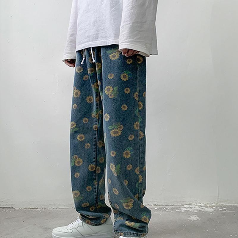 Laamei flor jeans rectos moda hombre retro cordón jeans pantalones hombres calle streetwear suelto hiphop pantalones de mezclilla para hombre M-2XL