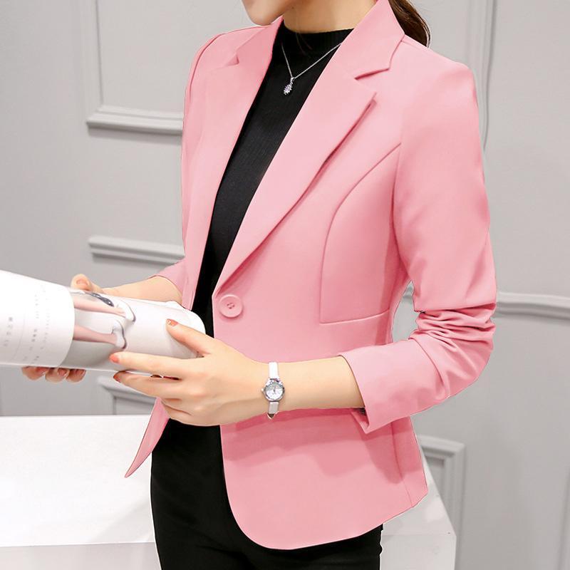 Azul Pink Ladies Blazer manga comprida Blaser Mulheres paletó Feminino Feminino Blazer Femme Branco Preto Outono