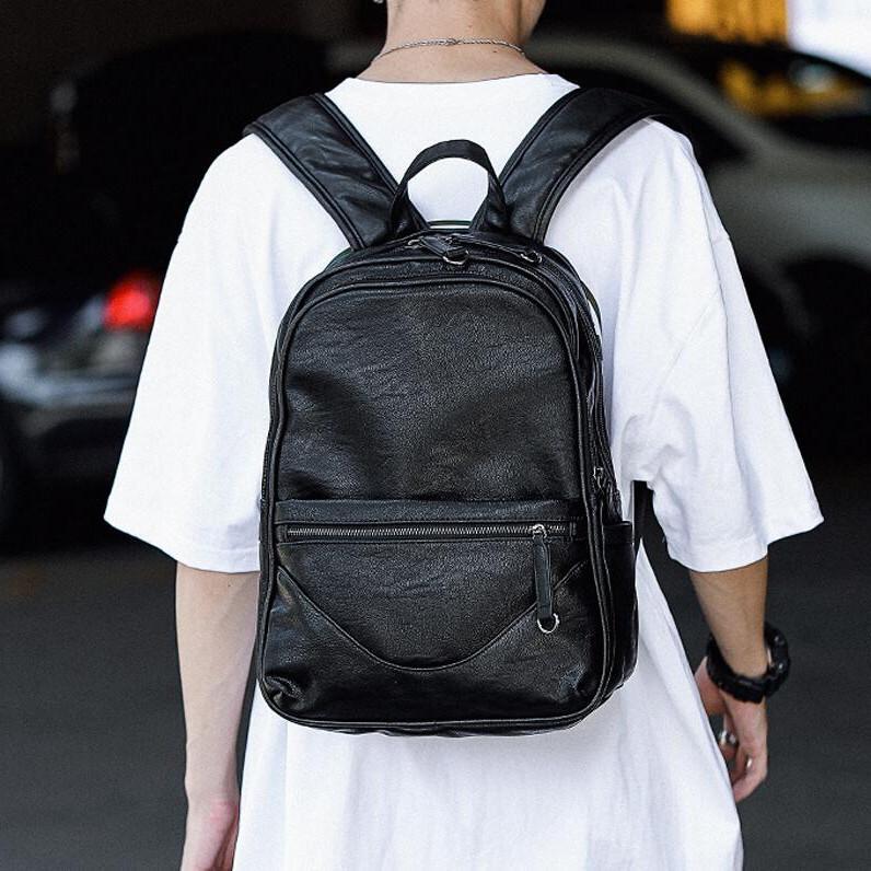 Factory wholesale men handbag simple Joker leather men backpack large outdoor leisure backpack College style leather fashion backpacks