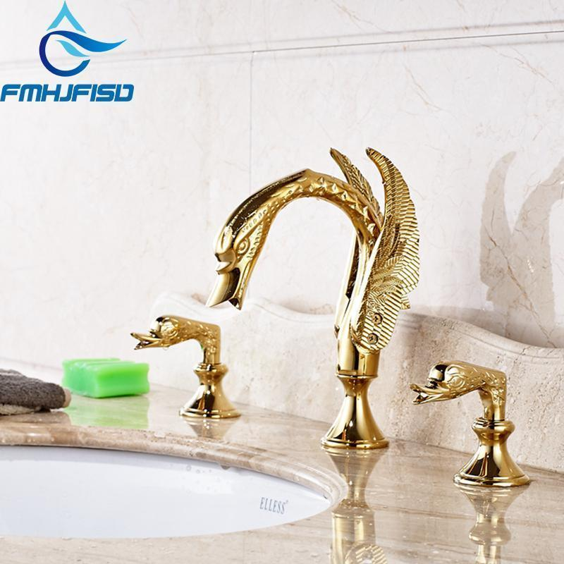 Luxus goldener Messingschwan-Wasserhahn weit verbreitet 3 Löcher 2 Griffe Eitelkeitssenke Mixer1